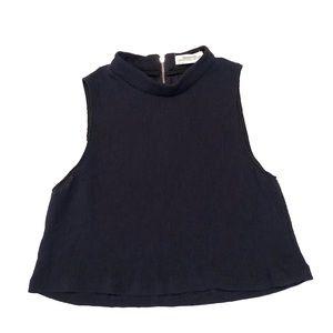 Zara Women Medium Navy Blue Cropped Tank Top